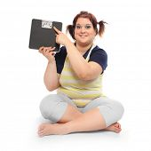 picture of diabetes mellitus  - Overweight woman with weighing machine - JPG