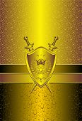Seamless pattern with drops or shield swords on gold background