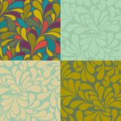 Set of Seamless Swirly Patterns, in neutral green, gold and yellow, and multicolor