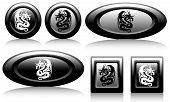 web button with dragons black and white