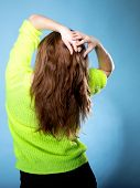 Beautiful Female Brown Long Hair Back View