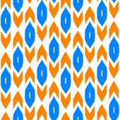 Ikat traditional middle east fabric in orange and blue seamless pattern, vector