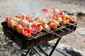 chicken shish kebab on bbq grill in sauce on skewers with tomatoes and peppers