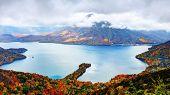 Landscape of Mt. Nantai and Lake Chuzenji in Nikko, Japan.
