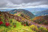 Mountain range in Nikko National Park in Nikko, Tochigi, Japan.