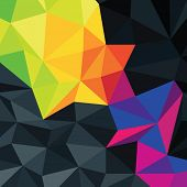 Abstract triangles background with colorful accented area, vector.