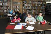 Elementary School Students Studying