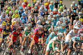 BARCELONA - MARCH, 24: Pack of the cyclists ride during the Tour of Catalonia cycling race through t