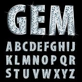 picture of crystal clear  - vector silver alphabet with diamonds - JPG