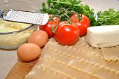 Ingredients;Lasagna Noodles,Tomato,Eggs and Cheese
