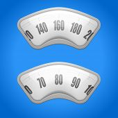 detailed illustration of weighing scales on a blue background, eps10 vector