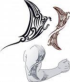 Maori styled tattoo pattern in shape of manta ray profile. Fit for shoulder and forearm. Raster image. Find editable version in my portfolio.