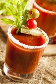 picture of bloody mary  - Spicy Bloody Mary Alcoholic Drink with a tomato garnish - JPG