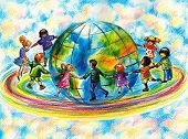 image of fellowship  - Children of different races running on rainbow around planet Earth - JPG