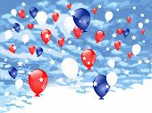 Red, Blue And White Balloons