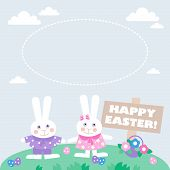 card with easter eggs and bunnies
