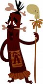 image of cannibal  - A cartoon black cannibal man holding a spear with a skull on top - JPG