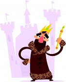 picture of sceptre  - A cartoon smiling king with crown and mace standing standing in front of his castle - JPG