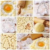 Baking ingredients for shortcrust pastry, collage