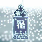 Magic Christmas Label With Buy Two Get One Free Sign
