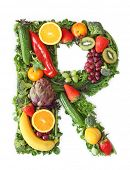 Fruit and vegetable alphabet - letter R