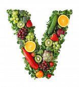 Fruit and vegetable alphabet - letter V