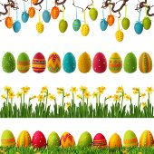 image of row trees  - Spring collection with colorful easter eggs - JPG