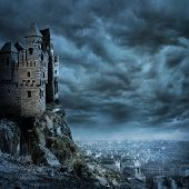 stock photo of royal palace  - Landscape with old castle at night - JPG