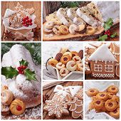 stock photo of ice-cake  - Christmas gingerbread cookies and stollen cake collage - JPG
