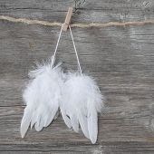 Angel wings on grey wooden background