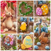 Colorful easter collage with cookies
