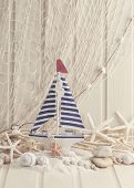 pic of life-boat  - Marine life decoration and on wooden shabby background - JPG