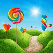 stock photo of bonbon  - Fantasy sweet candy land with lollies - JPG