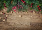 stock photo of pine-needle  - Christmas fir tree on wooden background - JPG