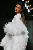 Fashion model wearing clothes designed by Vain on the Cro a Porter show on October 23, 2013 in Zagreb, Croatia.