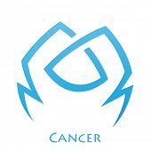 pic of cancer horoscope icon  - Illustration of Simplistic Lines Cancer Zodiac Star Sign isolated on a white background - JPG