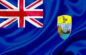 image of ascension  - Flag of Saint Helena Ascension and Tristan da Cunha waving in the wind - JPG