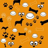stock photo of dog footprint  - A brown background with pattern of different dog or pet related elements - JPG