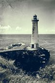 Lighthouse at Guadeloupe, vintage processing