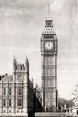 Big Ben, black and white, vintage photo.