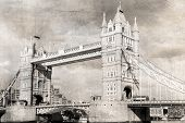 Tower Bridge, black and white, vintage photo.