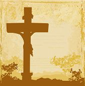 stock photo of golgotha  - Jesus Christ crucified grunge background  - JPG