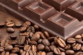 chocolate bar and coffee beans