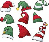 Christmas hats clip art. Vector cartoon illustration with simple gradients. Each hat on a separate l