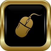 Black Gold Computer Mouse Icon.