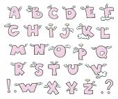 Winged alphabet. Cute flying letters.