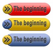 the beginning button or start sign the origin icon