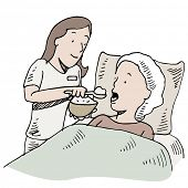 An image of a nurse feeding a patient.