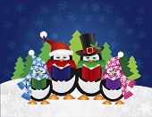 picture of christmas song  - Penguins Christmas Carolers with Hats and Scarfs with Night Winter Snow Scene and Random Music Notes Background Illustration - JPG