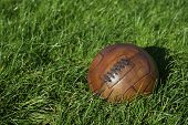 Vintage Brown Football Soccer Ball Green Grass Field